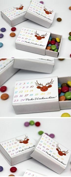 DIY Streichholzadventskalender mit Smarties + Anleitung: DIY, Basteln, Selbermachen, Freebie, Free Printable, kostenloses Etikett, Adventskalender, Weihnachtskalender, Geschenk, Geschenkidee, Weihnachtsgeschenk, Weihnachten, schnelle Bastelidee, Adventska