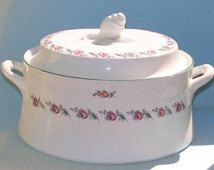 Vintage Casserole Soup Tureen Cottage Chic Shabby Pink Roses Fine China La Rochelle