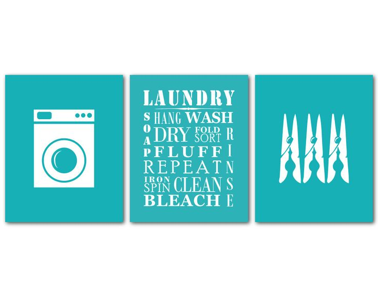 Laundry Room Art - Wall Art Trio - Laundry Symbols - wash dry - Typography - Word Art - Laundry Words - Washing Machine Symbol - Clothespin by SusanNewberryDesigns on Etsy