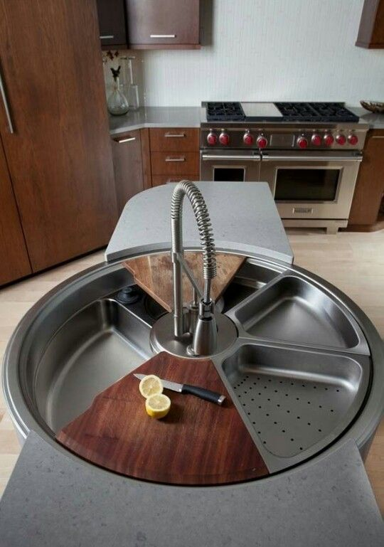 Turnable sink with a cutting board, drainer etc.