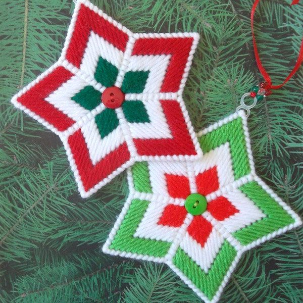 "Plastic Canvas: Christmas Ornaments -- ""Christmas Stars"" (set of 2) by ReadySetSewbyEvie on Etsy"