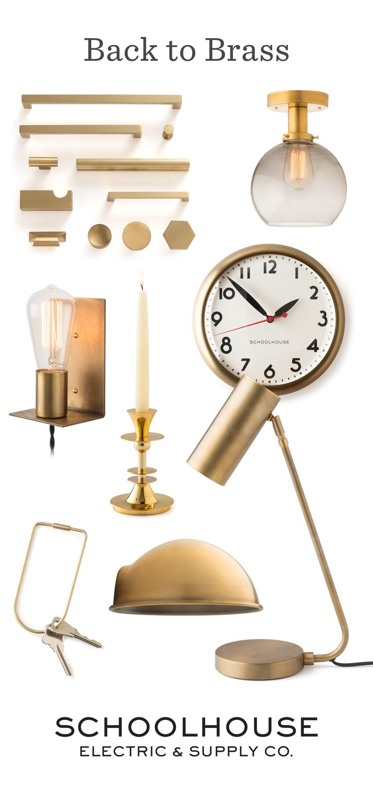 Brass favorites from Schoolhouse Electric & Supply Co. | Shop brass accessories, lighting, hardware and more for your home | #backtobrass