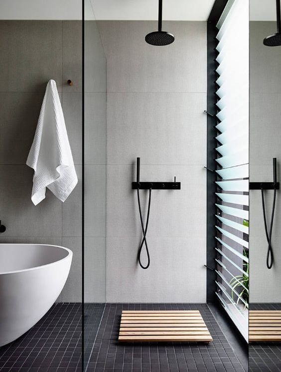 Showering next to a jalousie window with some amazing hardware in an open concept shower and bath space? Perfect for the inner streaker in everyone. #ThisOldHouse shower inspiration via www.L-2-Design.com