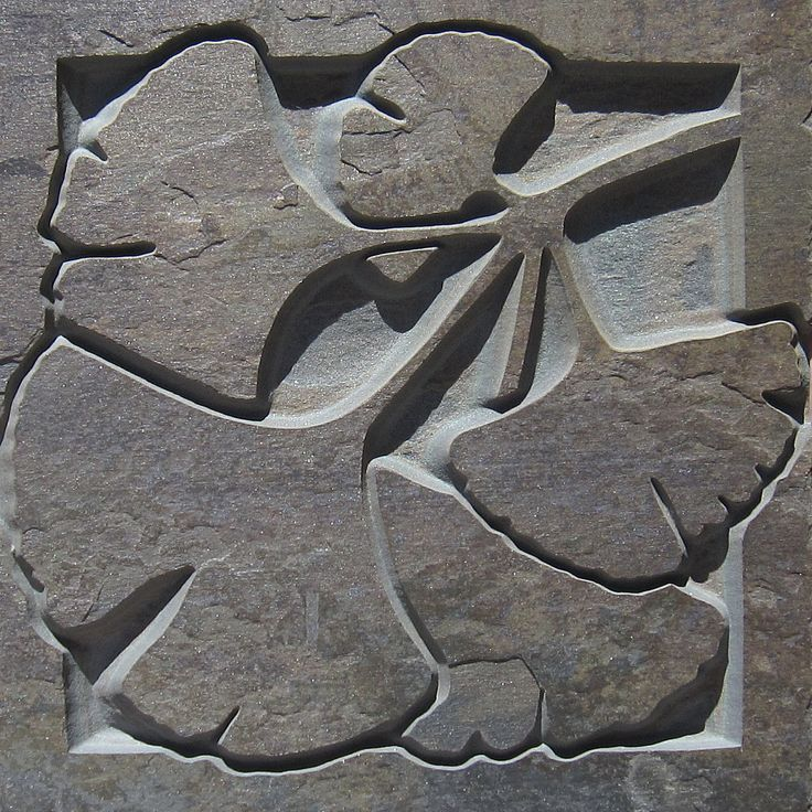 6x6 Arts & Crafts Ginko Leaves Etched Slate Tile