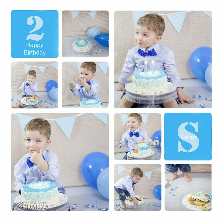 photo cake smash baby happy birthday anniversaire 1 an 2 ans boy garcon bleu beige petits pois. Black Bedroom Furniture Sets. Home Design Ideas