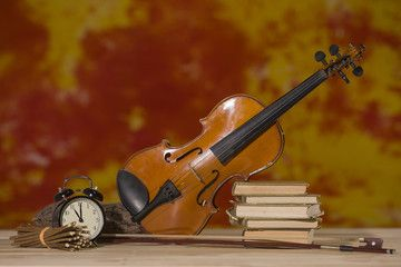 Still life isolated composition with violine
