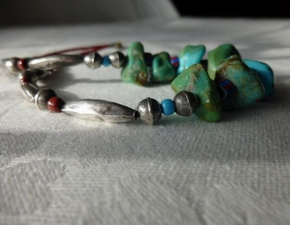 Silver, Turquoise Jewellery ~ Native American Necklace ~TurquoiseNuggets…