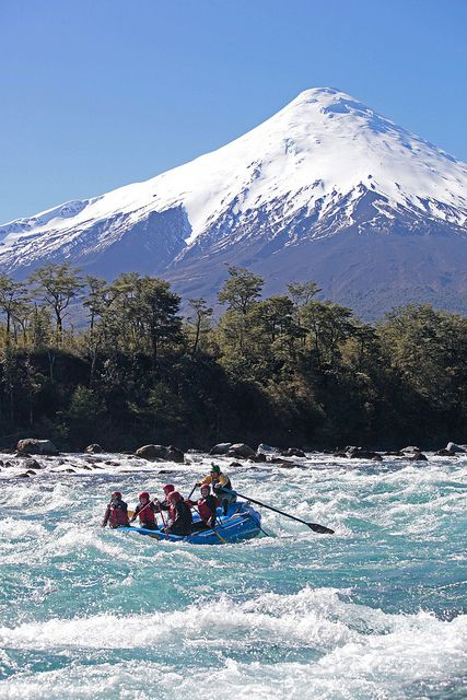 Rafting on Petrohue river, Lakes District of Chile