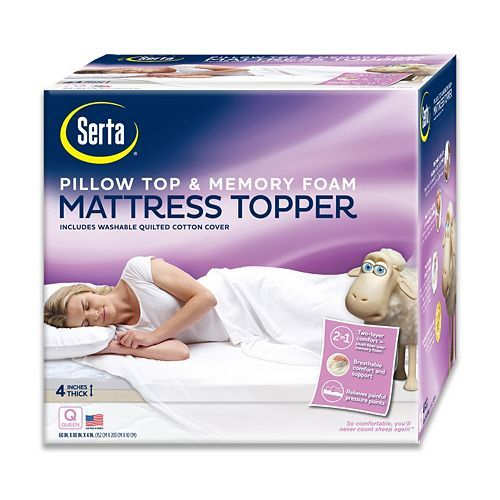 For futon in craft room: Serta 4-in. Deep-Pocket Pillow Top & Memory Foam Mattress Topper ($159.99)