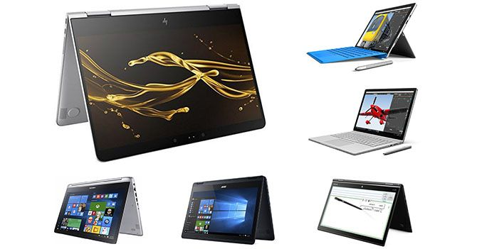 Review of best 2-in-1 convertible and hybrid laptops 2017. Comparison chart of top detachable laptops to buy online.