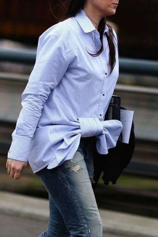 Le Fashion Blog Street Style Lfw Blue And White Striped Tie Front Button Down Shirt Distressed Denim Via Refinery29