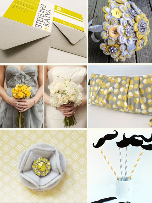 Yellow + Gray is one of my favorite palettesYellow Gray Bouquets, Yellow Weddings, Perfect Palettes, Wedding Flowers, Colors Palettes, Wedding Colors, Colors Schemes, Perfect Colors, Felt Flowers