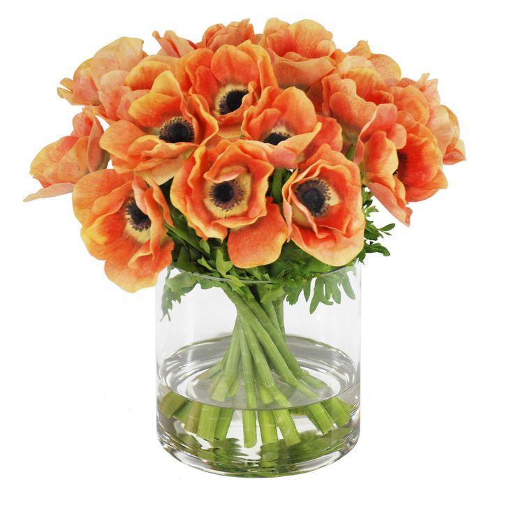 Jane Seymour Botanicals 12 in. Poppy Anemone Bouquet Silk Flower in Cylinder Vase | from hayneedle.com