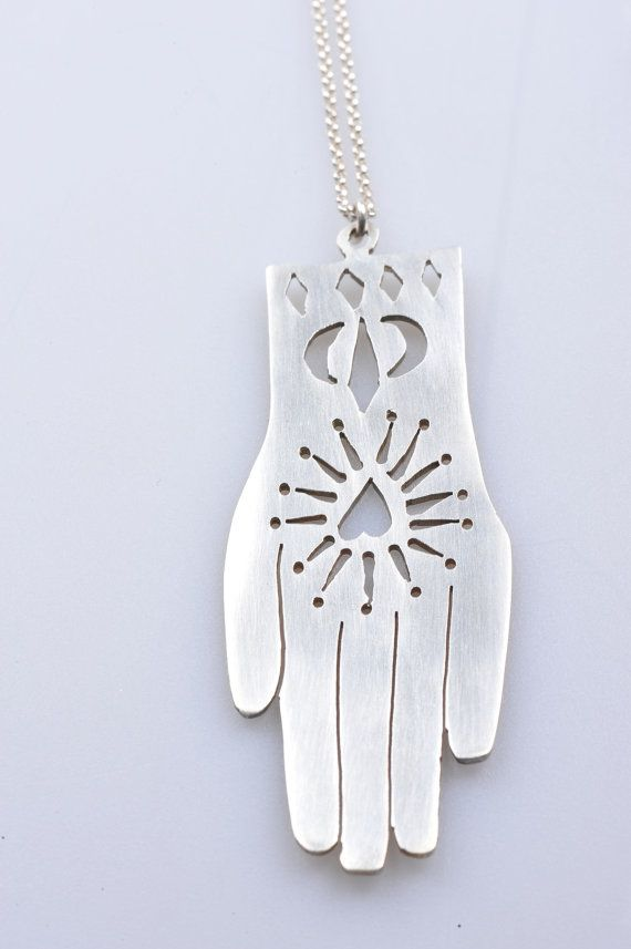 Silver Hand or Hamsa necklace by mcfarlanemetal on Etsy