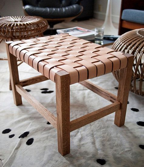 diy woven leather stool: Woven Leather, Idea, Diy Leather, Diy'S, Leather Tutorial, Diy Projects, Stools