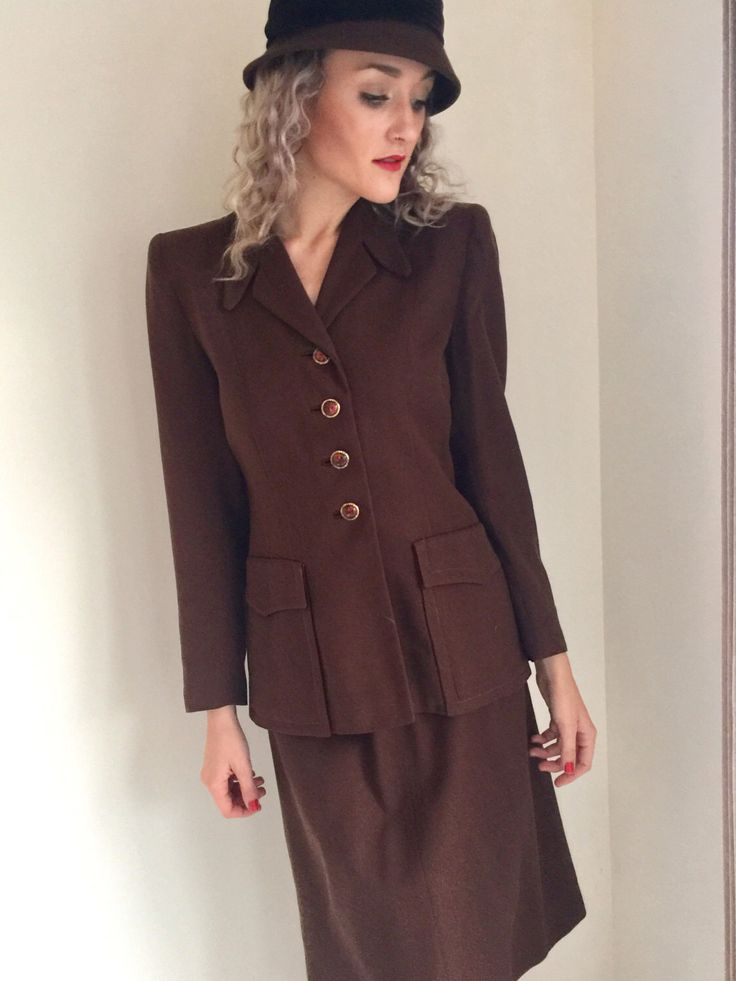 A personal favorite from my Etsy shop https://www.etsy.com/ca/listing/504345485/vintage-1940s-suit-ladies-suit-brown