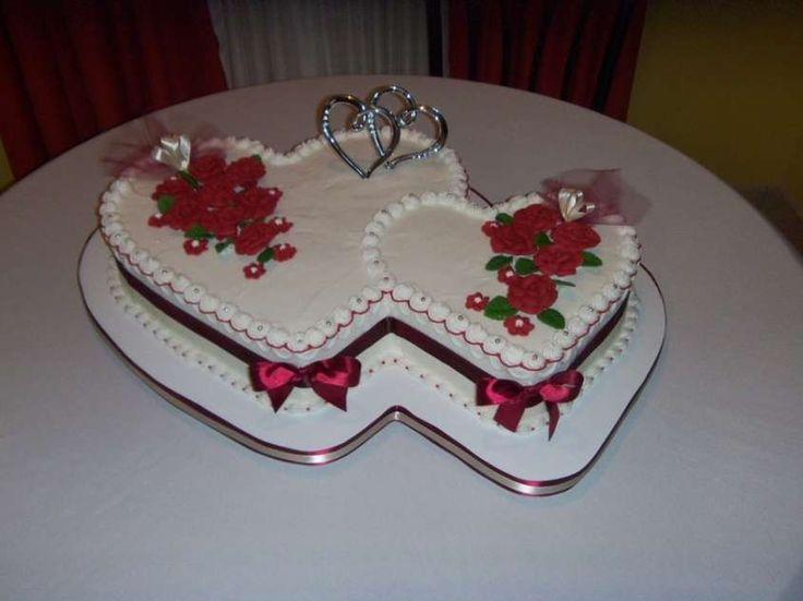 Torte nuziali a forma di cuore - Torta doppia a cuore