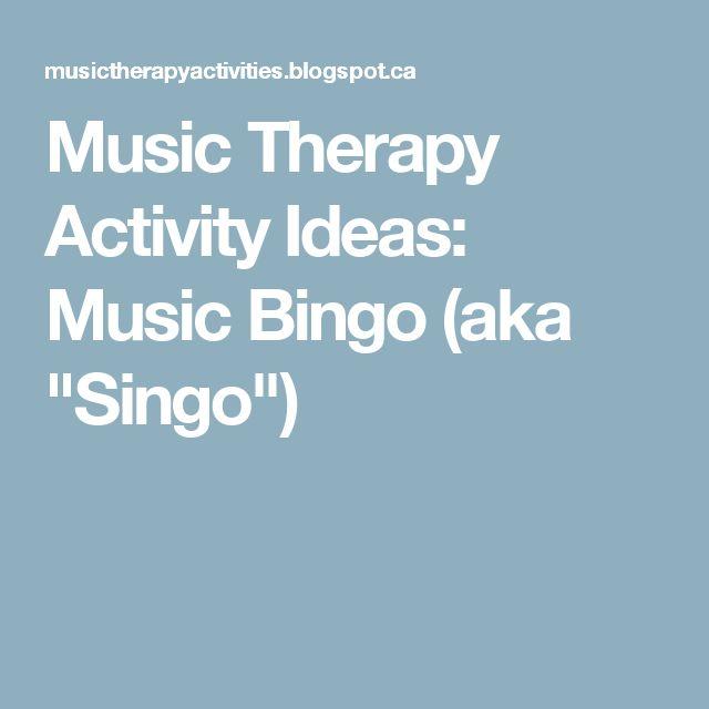 "Music Therapy Activity Ideas: Music Bingo (aka ""Singo"")"