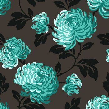 Fine Decor Bloom Wallpaper Charcoal / Black / Teal - bedroom accent wall