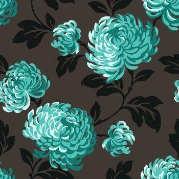 Fine Decor Bloom Wallpaper Charcoal / Black / Teal