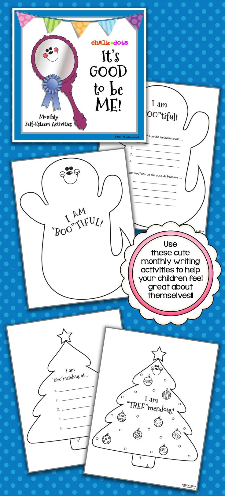 Self Esteem - This book contains a writing activity for each school month of the year. Each activity is meant to boost the children's self-esteem and help them focus on all their positive attributes! From writing reasons why they are boo-tiful in October to reasons why they are egg-ceptional in April, these activities will help your children feel terrific about themselves!