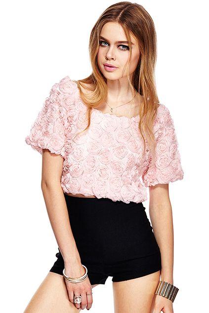 ROMWE | ROMWE 3D Rose Embellished Short-sleeved Crop Pink T-shirt, The Latest Street Fashion  #Romwe