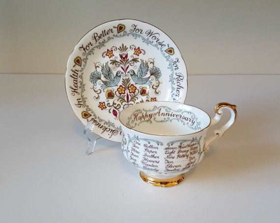 Vintage Paragon Happy Anniversary Teacup and Saucer by RetroEnvy21