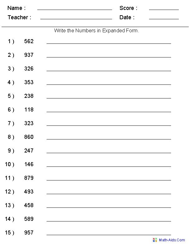 Place Value Worksheets | Place Value Worksheets for Practice. Many different worksheets