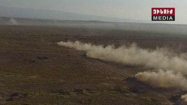The Armenian military carried out a live fire exercise with a counter-attack scenario. Air Force involved with Su-25s and Mi-24s.