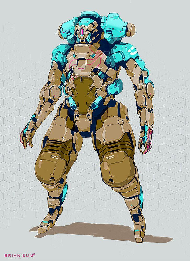 Armored Mech, Brian Sum on ArtStation at https://www.artstation.com/artwork/EwPk0