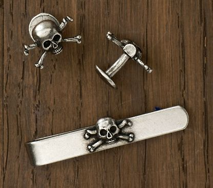 skull tie bar and cufflinks set Rugby /Ralph Lauren