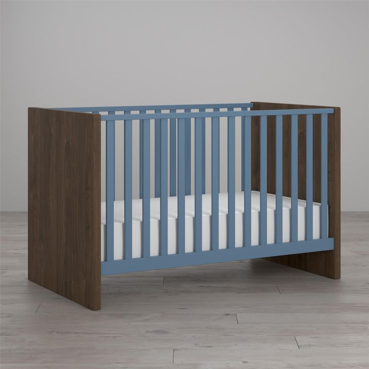 Our contemporary Sierra Ridge collection is finished in a walnut woodgrain chassis with contrasting British light blue finish. The European styling of the crib has wide side panels that complement the durable plywood slats finished in non-toxic, water-based paint. Adjustable mattress heights keep babies safe and easy to reach as they grow. The Sierra Ridge crib accommodates standard sized crib mattresses. Like all Little Seeds products, this purchase helps support a major environmental…