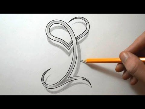 Drawing The Letter I With A Heart Combined
