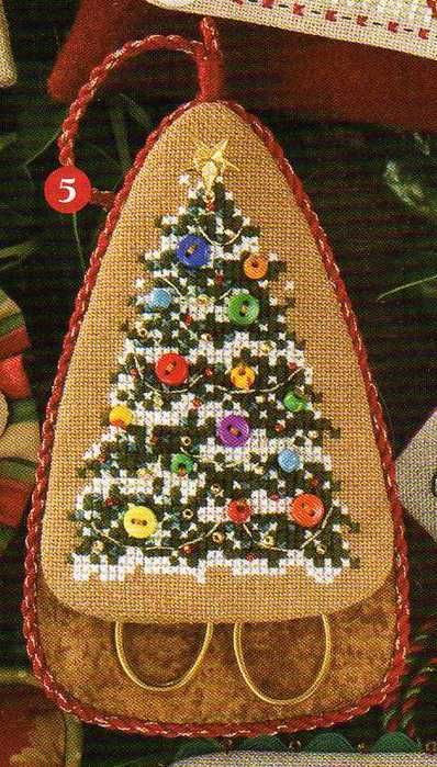 Christmas tree cross stitch pattern (ornament)  Cute idea to use buttons for lights...that can be applied for other crafts also.