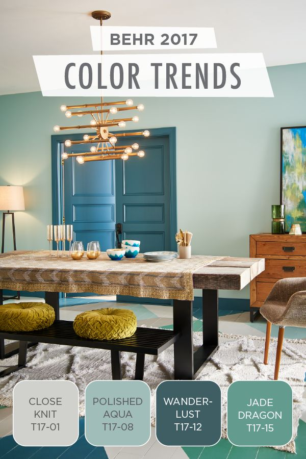 We're simply swooning over this chic color combination of Close Knit, Polished Aqua, Wanderlust, and Jade Dragon. From dark teal to soft blues the BEHR 2017 Color Trends has all the inspiration you ne