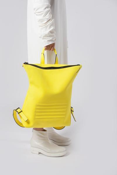 Bright yellow real leather stylish unisex backpack - Bagology