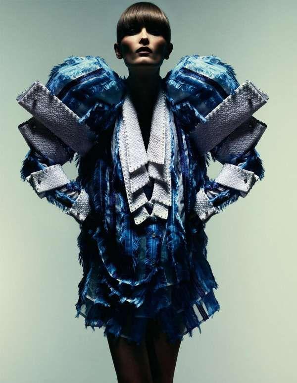 Multiplicity... quadruple sleeve & collar detail - sculptural fashion; design multiplication; wearable art