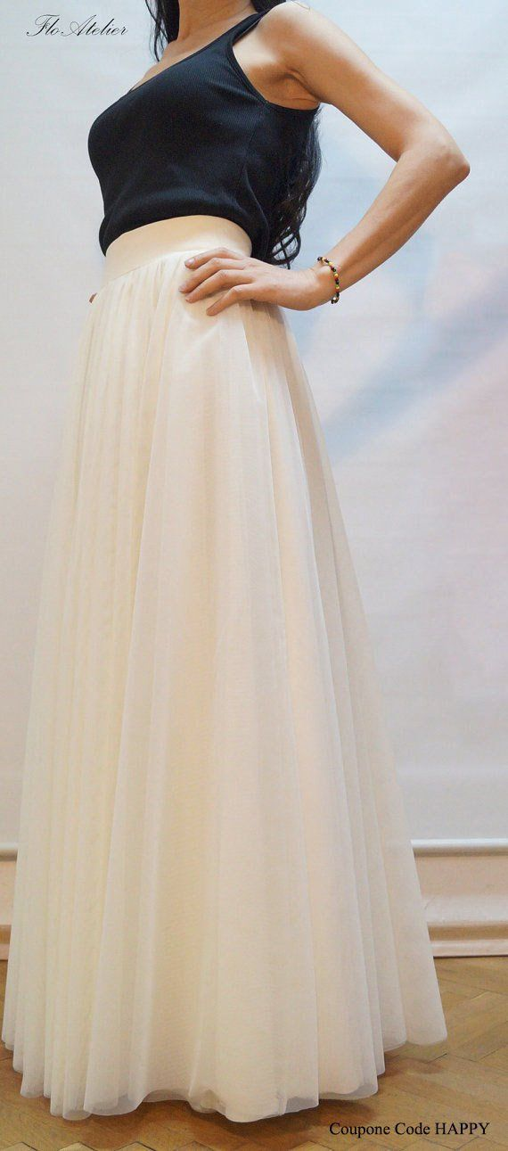 1d26feb48 Women Tulle Skirt/Tutu Skirt/Princess Skirt/Wedding Skirt/Long Skirt/OFF  White Skirt/OFF White Long