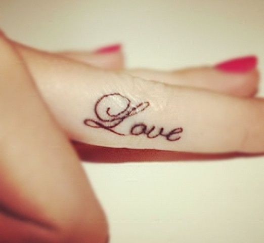 Cute Love Tattoo On Finger For Girls