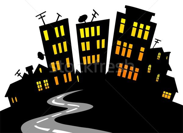 Stockfoto: Cartoon · stad · skyline · vector · gebouw · straat