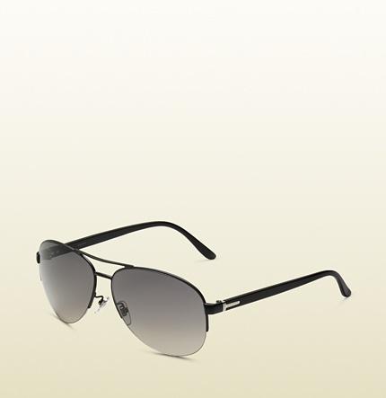 #Gucci men's black metal aviator sunglasses.. classic