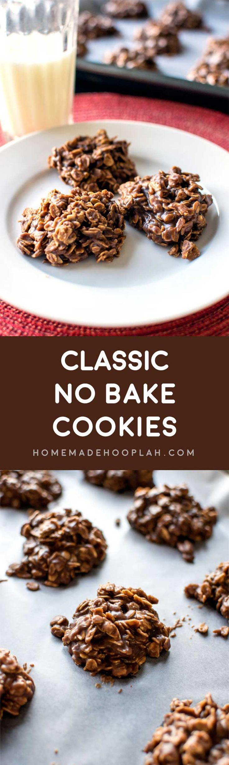 Classic No Bake Cookies! This recipe is a tried and true classic! Quick-cooking oats are mixed with a melted chocolate peanut butter sauce to make these simple and tasty cookies. | HomemadeHooplah.com