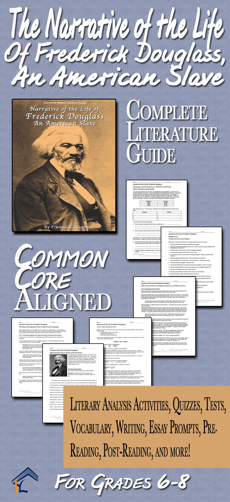 Narrative of Frederick Douglass Common Core Aligned Literature Guide for Grades 6-8 | Middle School English Language Arts
