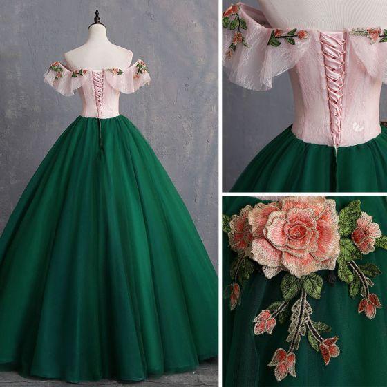 Vintage / Retro Dunkelgrüne Ballkleider 2019 Ballkleider Appliques Lace Off Shoulder Short … – Dresses