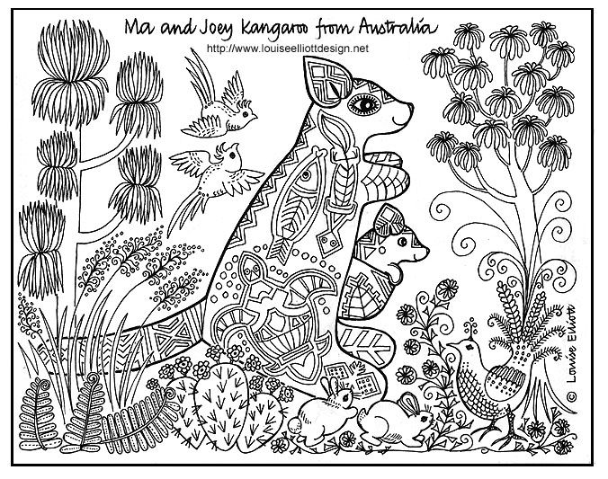 Ma Kangaroo travels in huge jumps using her strong tail  to steer with.  Joey travels in her pocket.  Ma and Joey  are decorated with the traditional patterns and pictures  used by Australian Aborigines who have a unique style  of art that goes back many thousands of years.