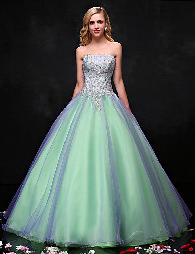 Princesse robe de mariée en organza en satin sans bretelles avec crystal by lan ting bride®