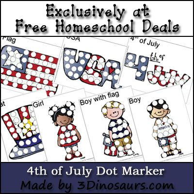 97 best homeschool deals limited time images on pinterest free 4th of july dot marker printable set fandeluxe Image collections