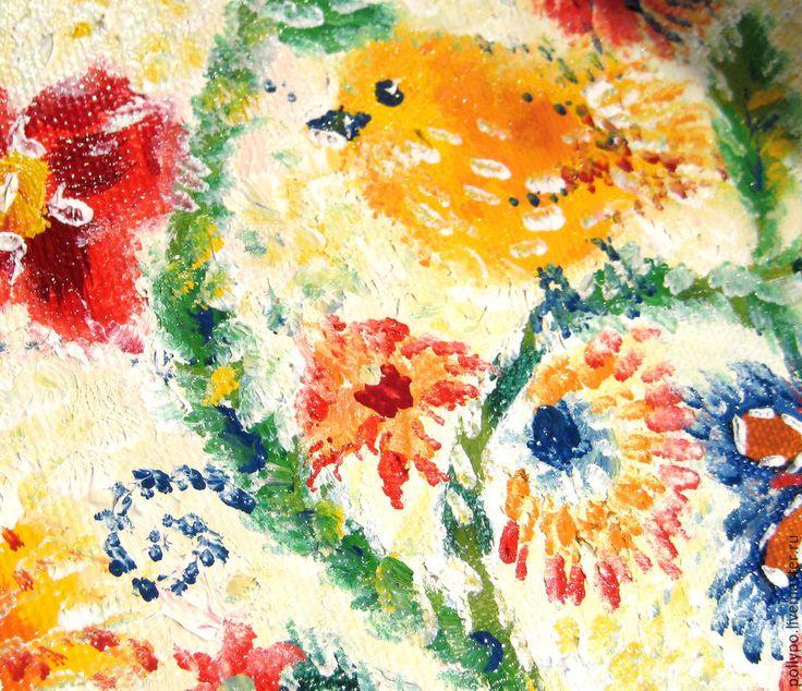 """Полина По. Авторская живопись. Купить Картина маслом """"Птичкины радости"""" (купить картину, яркая, желтая) - картина в подарок, птицы. Polina Po. Painting """"Birds of Joy"""""""