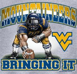 West Virginia Mountaineers Football T-Shirts - Three Point Stance - Bringing It