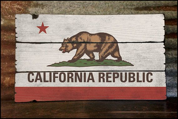 "Large ""California Republic Flag"" Handcrafted Rustic Wood Sign - Original Alpine Graphics Design - 3 Sizes - 3005"